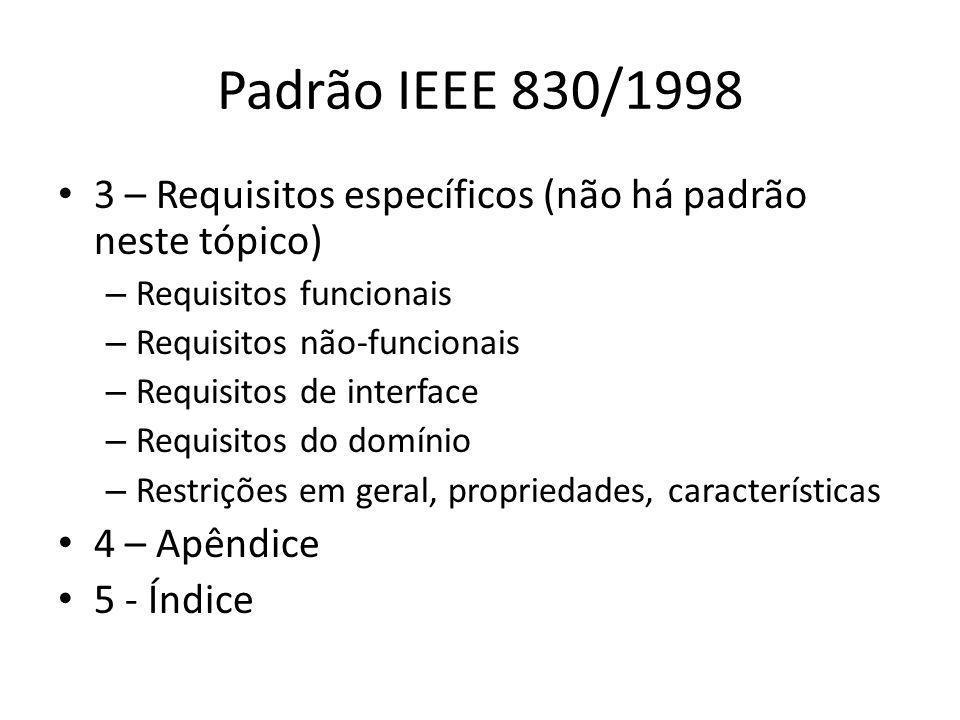Padrão IEEE 830/1998 3 – Requisitos específicos (não há padrão neste tópico) Requisitos funcionais.