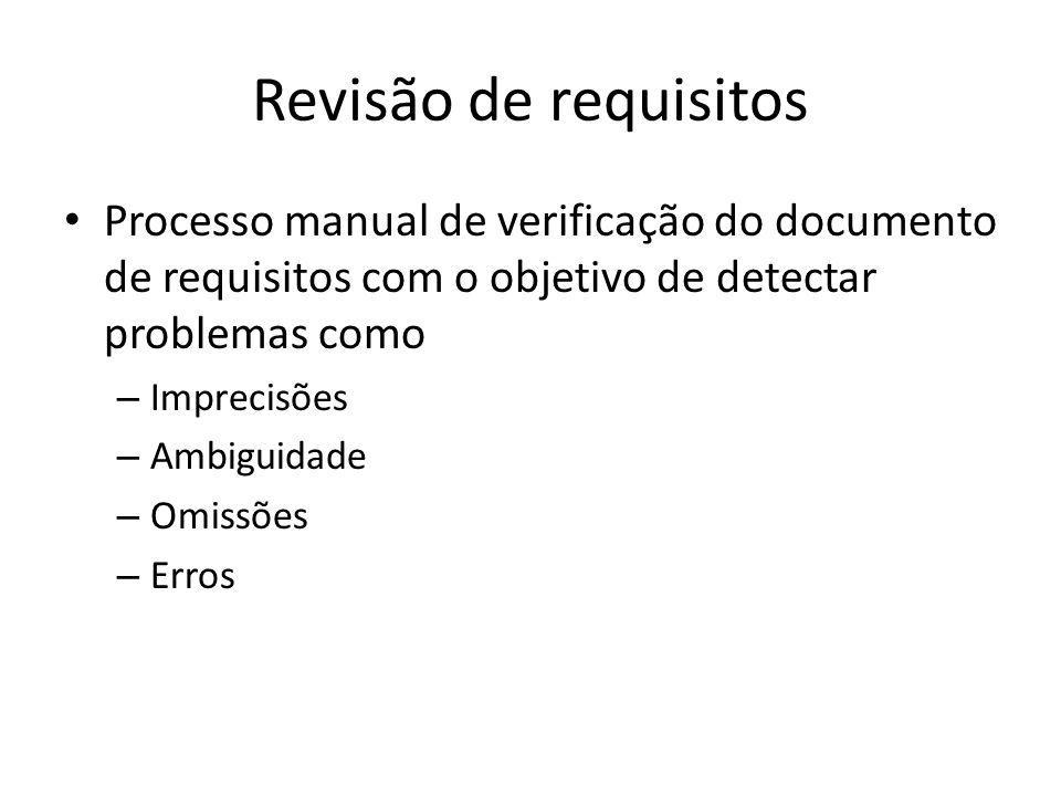 Revisão de requisitos Processo manual de verificação do documento de requisitos com o objetivo de detectar problemas como.