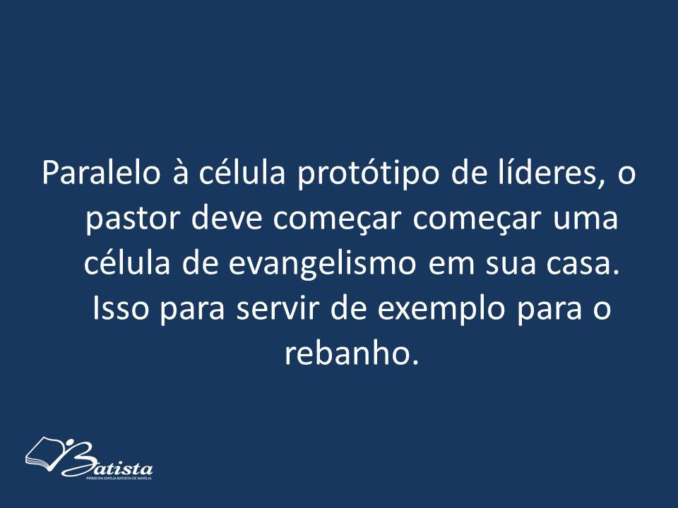 Paralelo à célula protótipo de líderes, o pastor deve começar começar uma célula de evangelismo em sua casa.