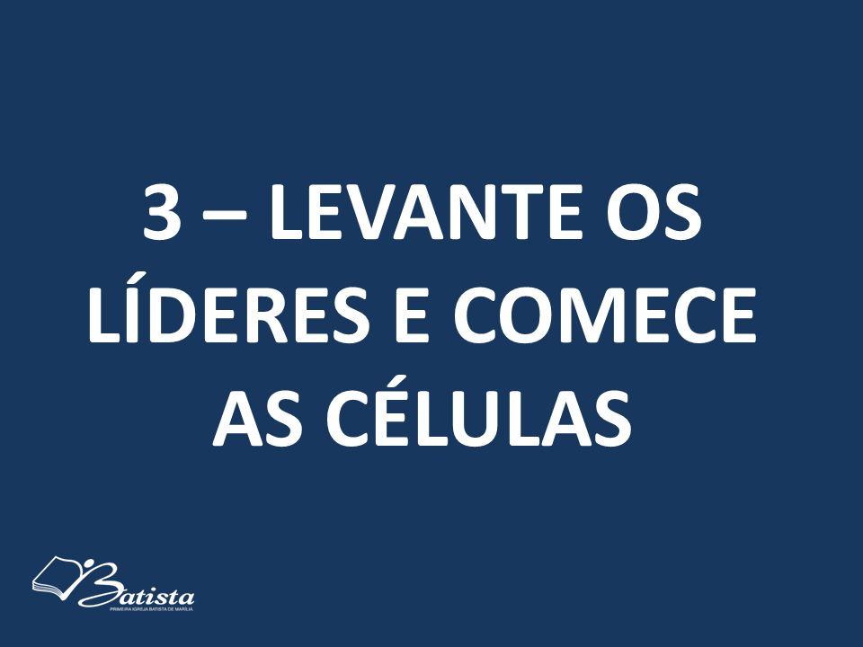 3 – LEVANTE OS LÍDERES E COMECE AS CÉLULAS