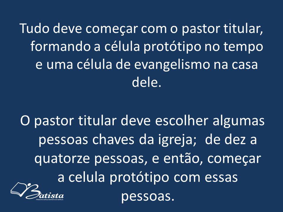 Tudo deve começar com o pastor titular, formando a célula protótipo no tempo e uma célula de evangelismo na casa dele.
