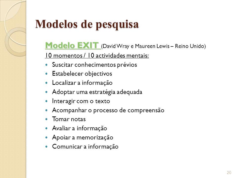 Modelos de pesquisa Modelo EXIT (David Wray e Maureen Lewis – Reino Unido) 10 momentos / 10 actividades mentais:
