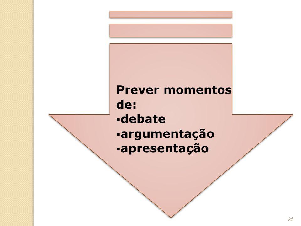 Prever momentos de: debate argumentação apresentação
