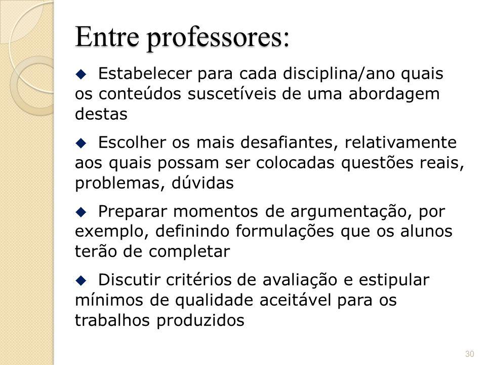 Entre professores: Estabelecer para cada disciplina/ano quais os conteúdos suscetíveis de uma abordagem destas.
