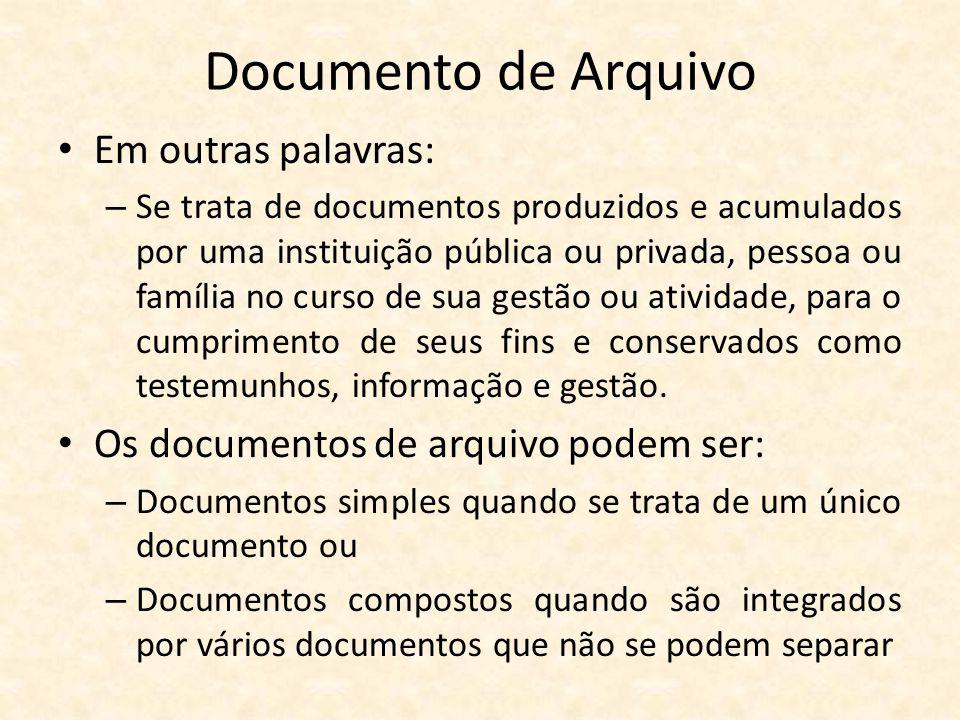 Documento de Arquivo Em outras palavras: