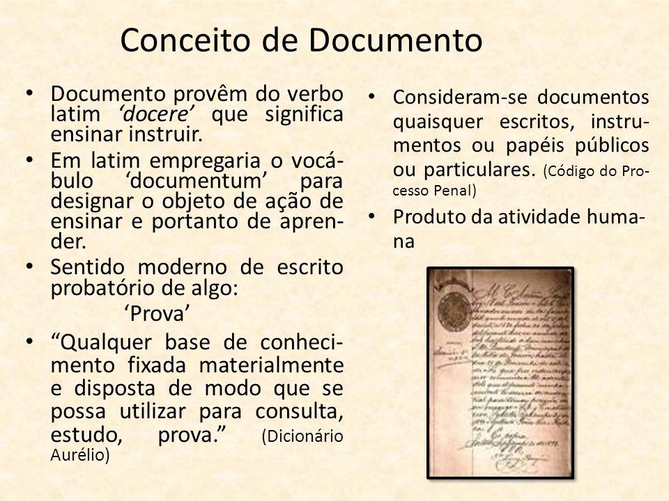 Conceito de Documento Documento provêm do verbo latim 'docere' que significa ensinar instruir.