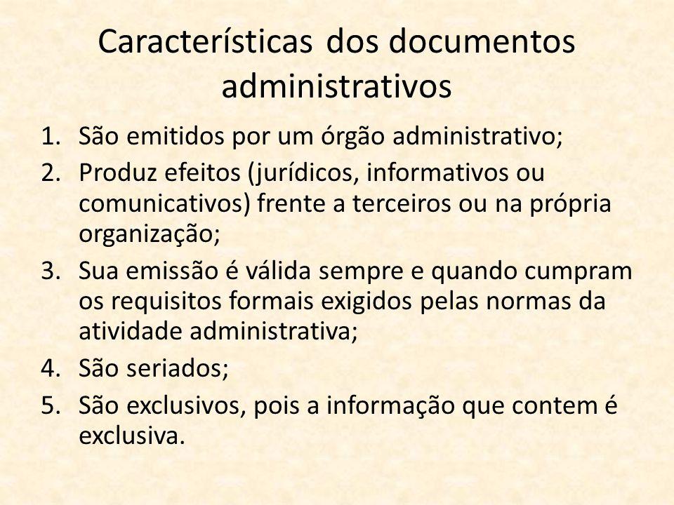 Características dos documentos administrativos