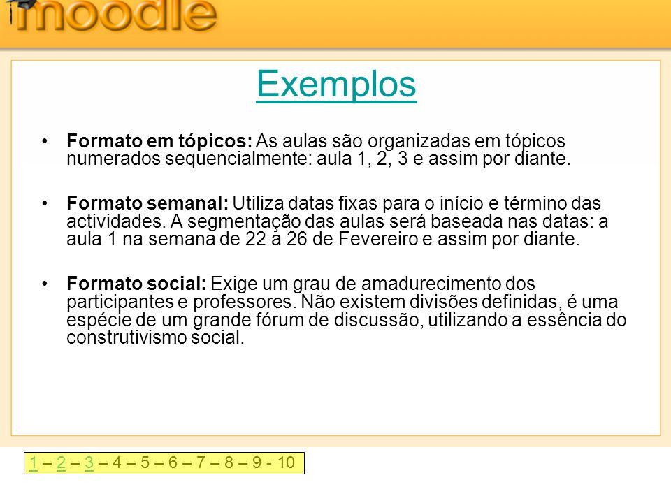 Exemplos Formato em tópicos: As aulas são organizadas em tópicos numerados sequencialmente: aula 1, 2, 3 e assim por diante.