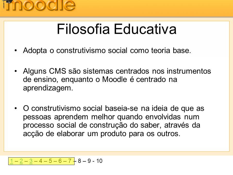 Filosofia Educativa Adopta o construtivismo social como teoria base.