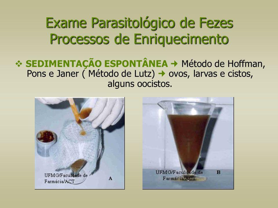 Exame Parasitológico de Fezes Processos de Enriquecimento