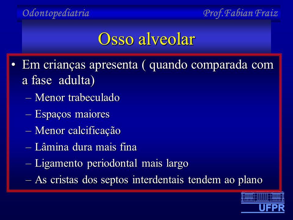 Osso alveolar Em crianças apresenta ( quando comparada com a fase adulta) Menor trabeculado. Espaços maiores.