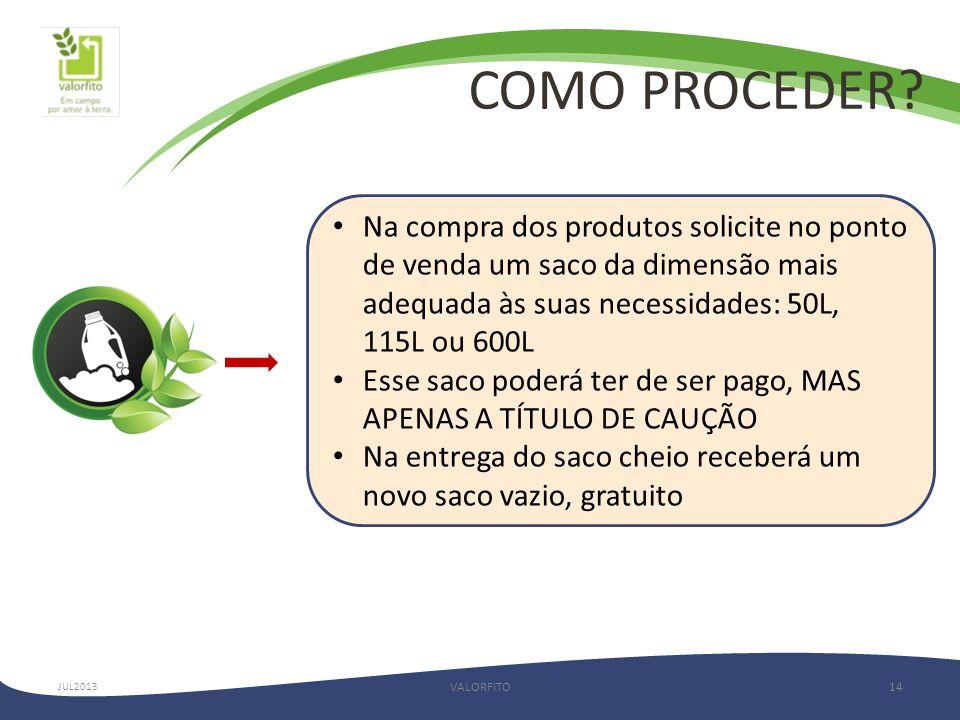 COMO PROCEDER Na compra dos produtos solicite no ponto de venda um saco da dimensão mais adequada às suas necessidades: 50L, 115L ou 600L.