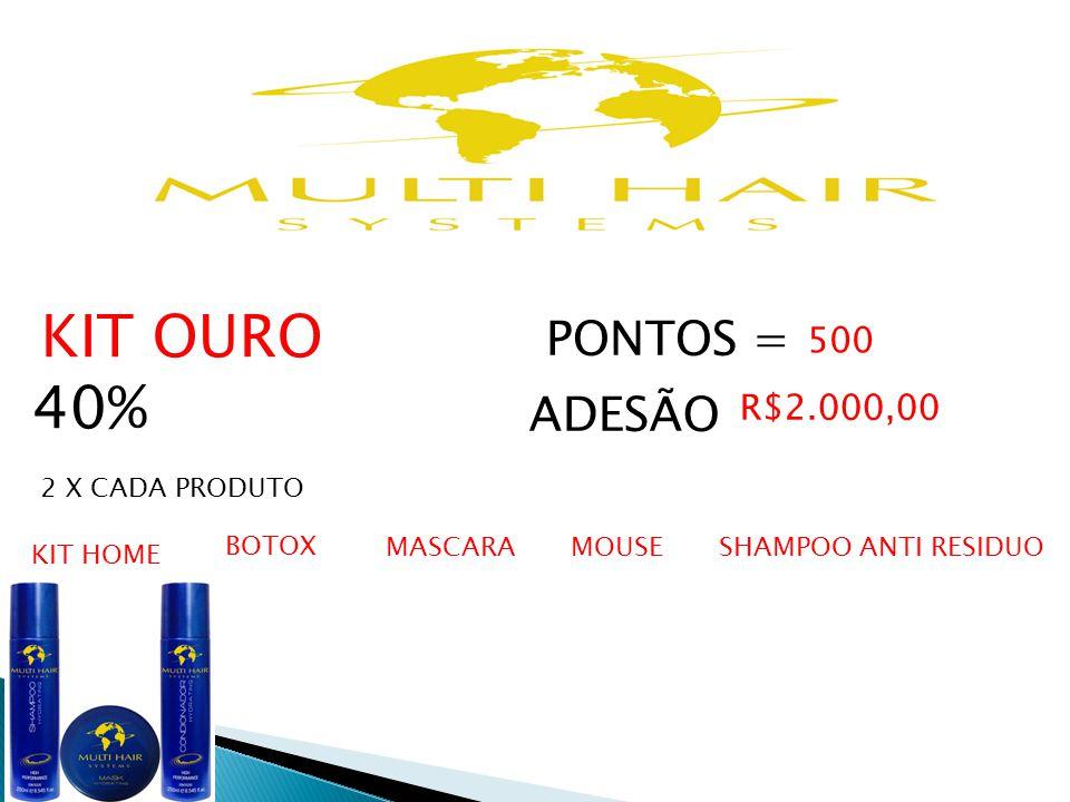 40% PONTOS = ADESÃO 500 R$2.000,00 KIT OURO 2 X CADA PRODUTO BOTOX