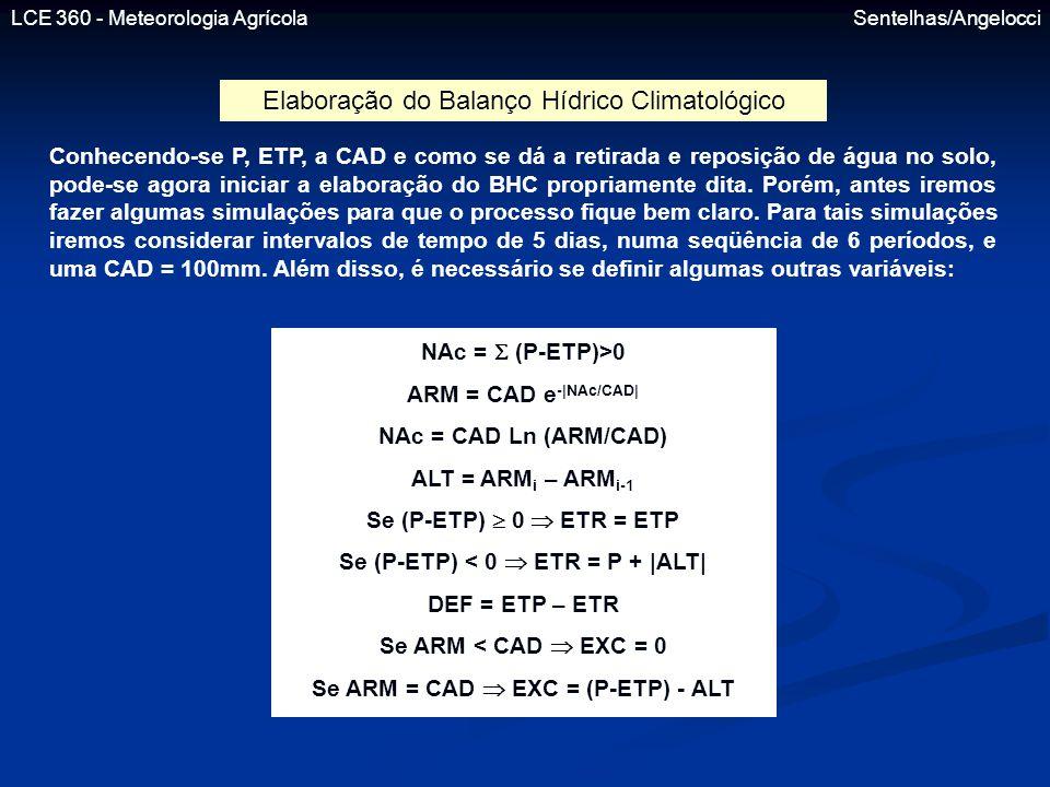 Se (P-ETP) < 0  ETR = P + |ALT| Se ARM = CAD  EXC = (P-ETP) - ALT