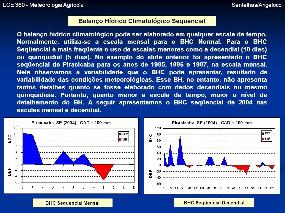 Balanço Hídrico Climatológico Seqüencial BHC Seqüencial Decendial