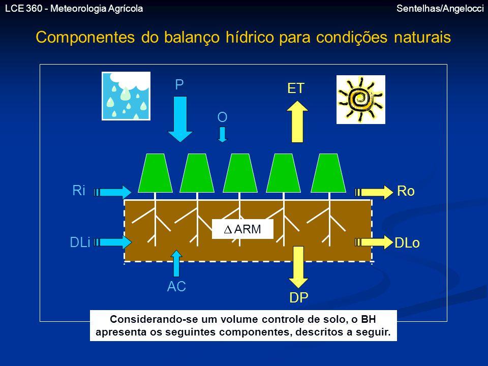 Componentes do balanço hídrico para condições naturais