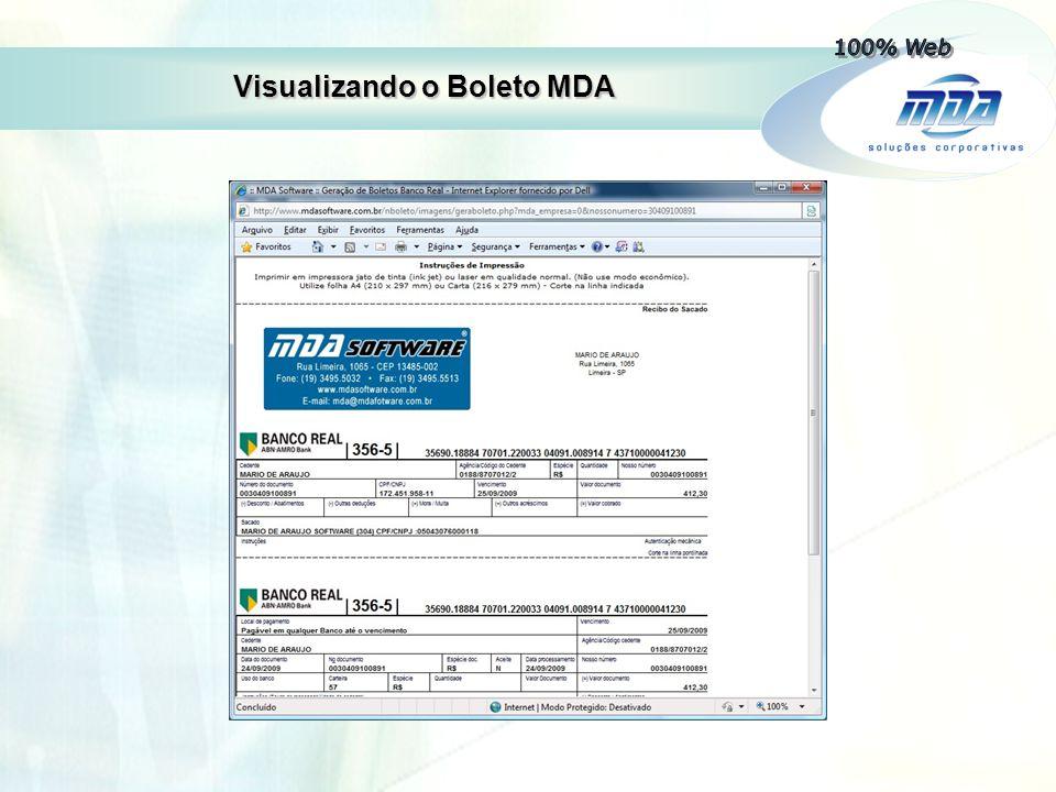 Visualizando o Boleto MDA
