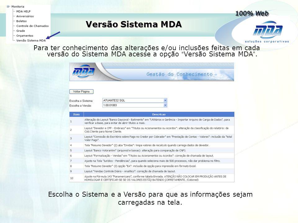 100% Web Versão Sistema MDA.