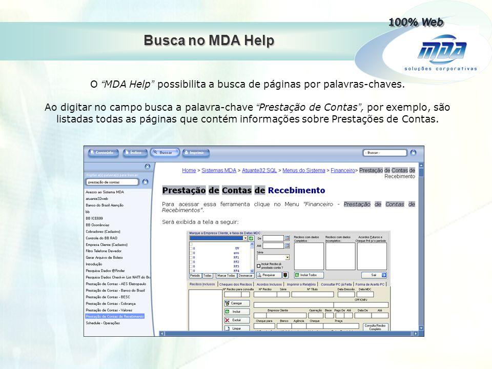 O MDA Help possibilita a busca de páginas por palavras-chaves.