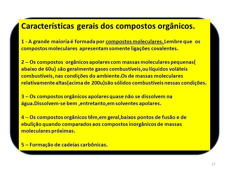 Características gerais dos compostos orgânicos.