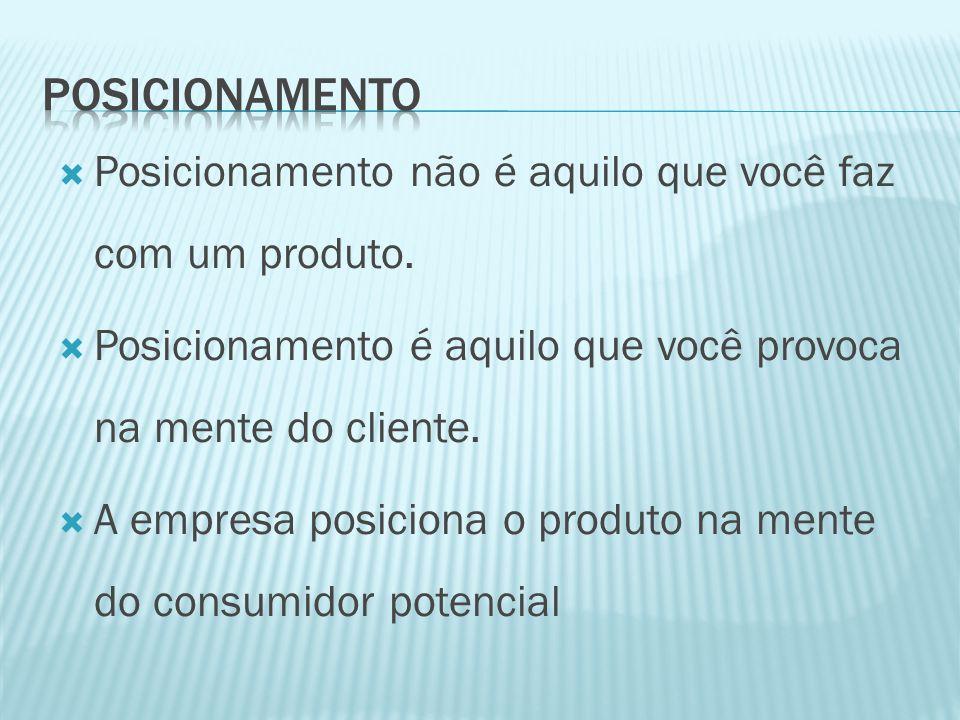 posicionamento Posicionamento não é aquilo que você faz com um produto. Posicionamento é aquilo que você provoca na mente do cliente.