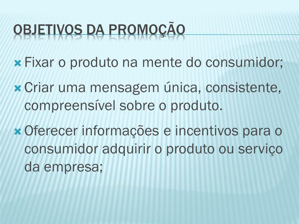 Objetivos da promoção Fixar o produto na mente do consumidor; Criar uma mensagem única, consistente, compreensível sobre o produto.