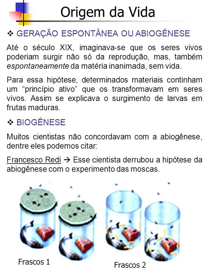 Origem da Vida GERAÇÃO ESPONTÂNEA OU ABIOGÊNESE BIOGÊNESE