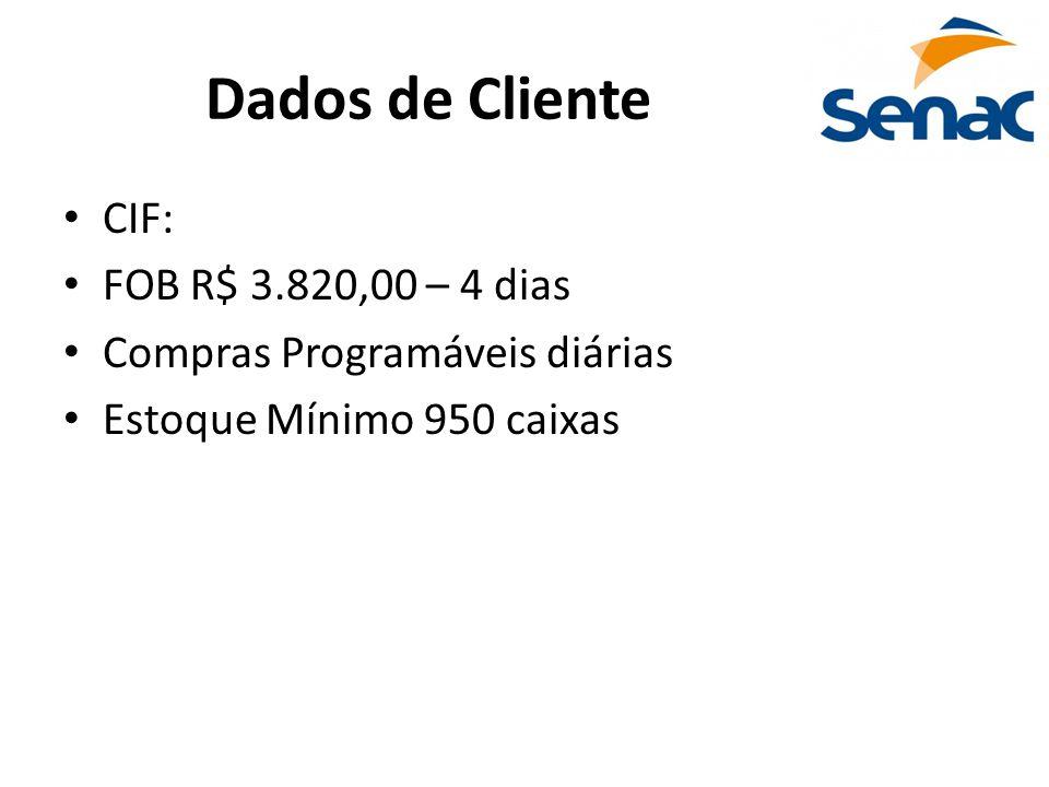 Dados de Cliente CIF: FOB R$ 3.820,00 – 4 dias