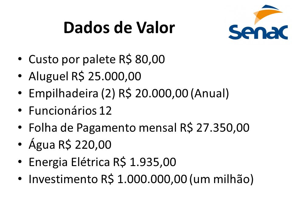 Dados de Valor Custo por palete R$ 80,00 Aluguel R$ 25.000,00