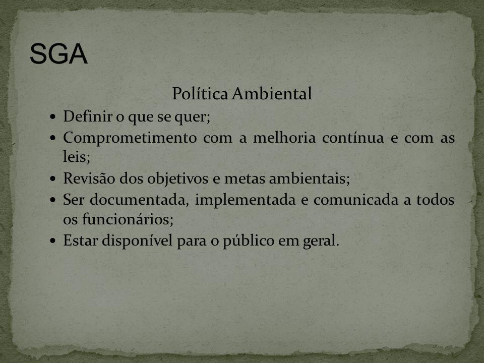 SGA Política Ambiental Definir o que se quer;