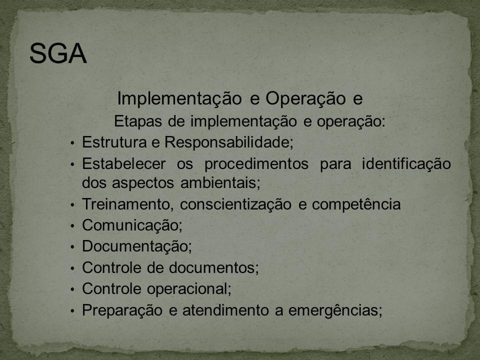 SGA Implementação e Operação e Etapas de implementação e operação: