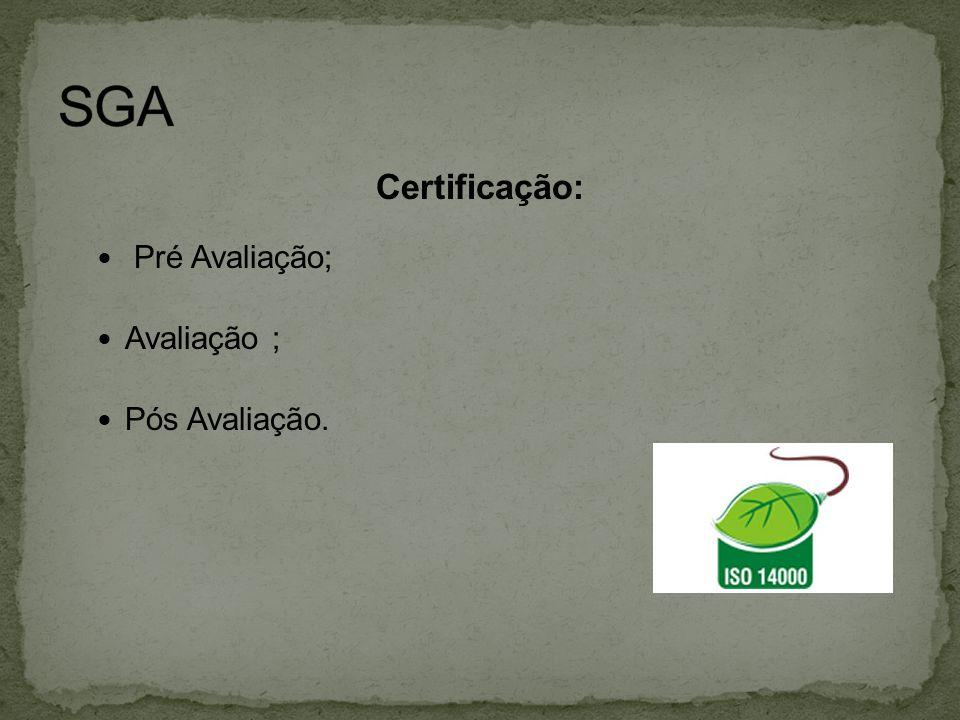 SGA Certificação: Pré Avaliação; Avaliação ; Pós Avaliação.
