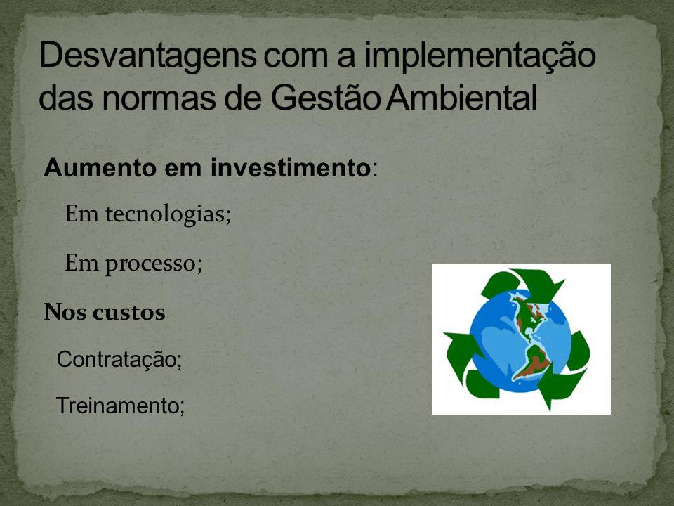 Desvantagens com a implementação das normas de Gestão Ambiental