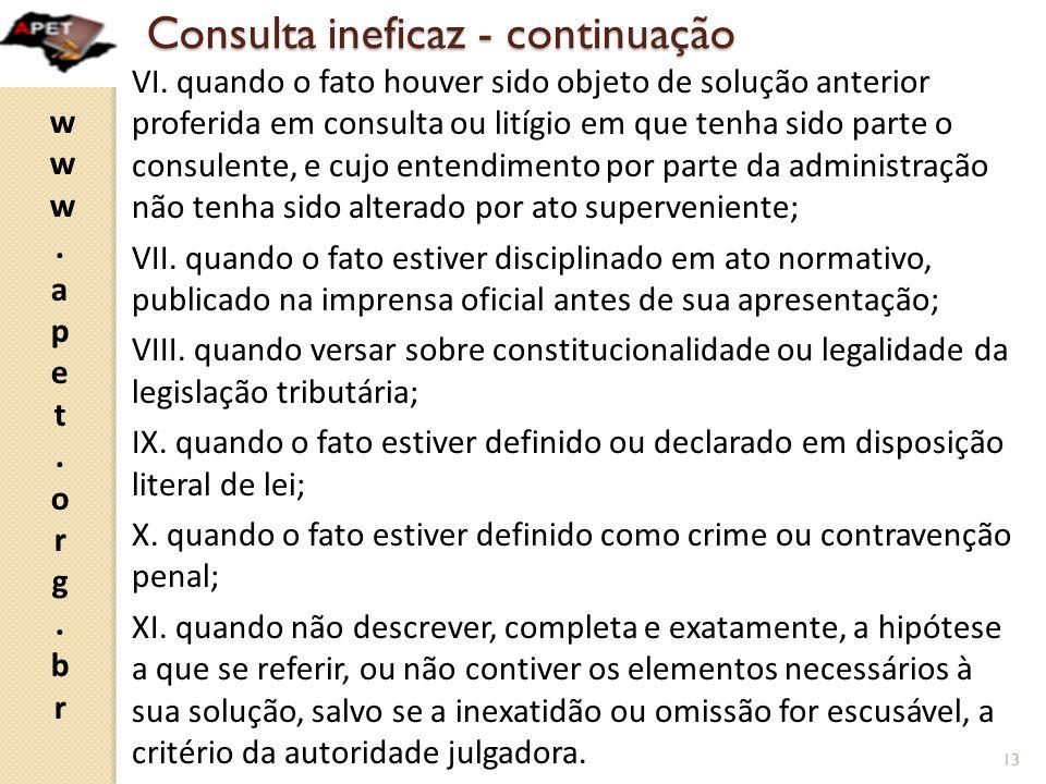 Consulta ineficaz - continuação