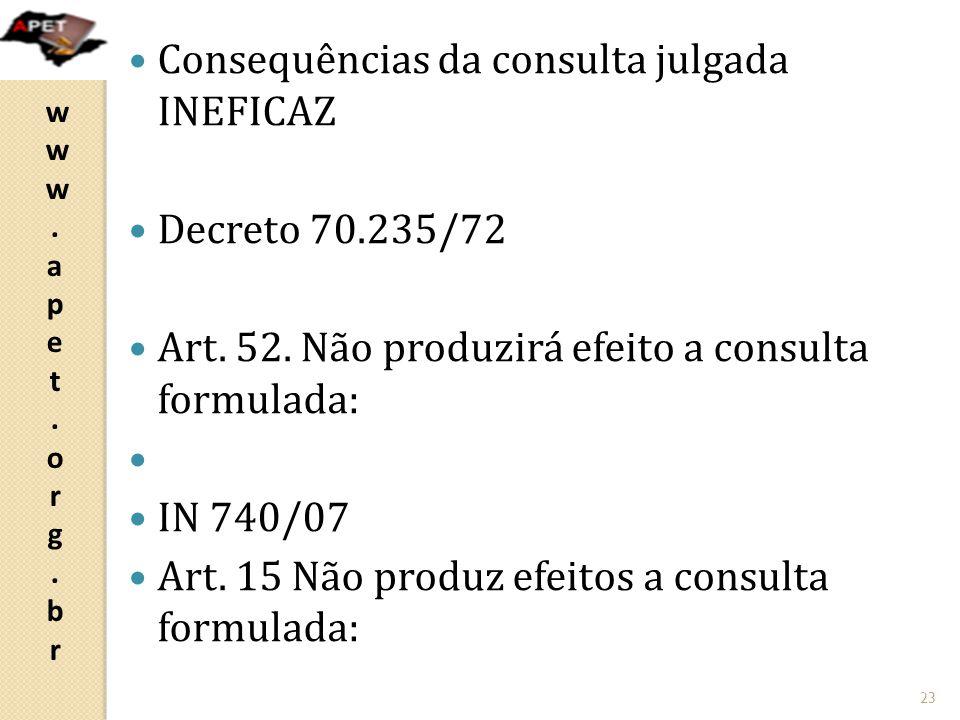 Consequências da consulta julgada INEFICAZ