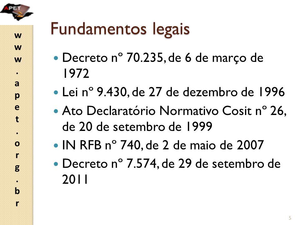 Fundamentos legais Decreto nº 70.235, de 6 de março de 1972