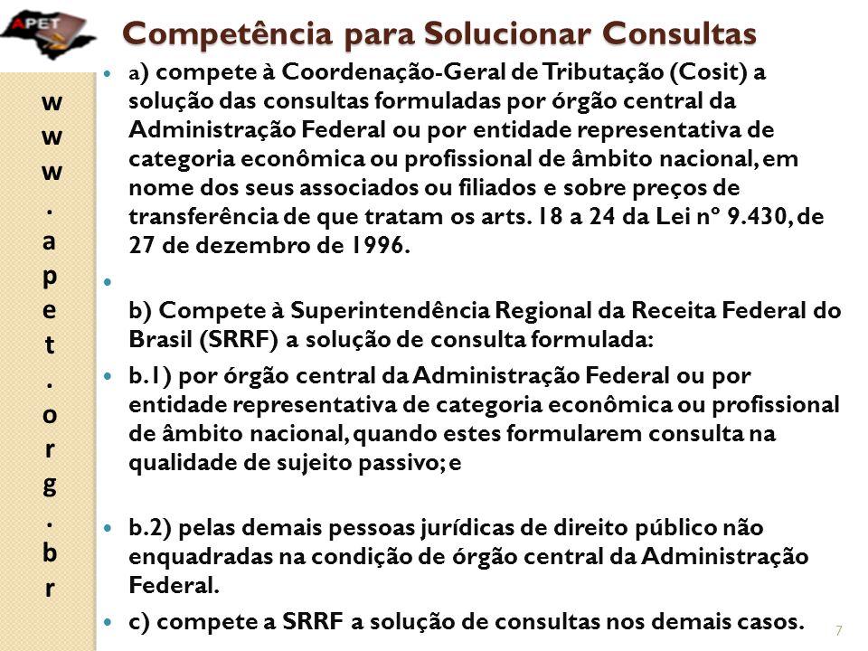 Competência para Solucionar Consultas