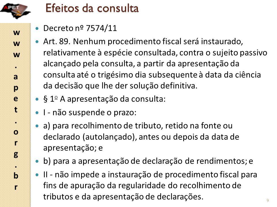 Efeitos da consulta Decreto nº 7574/11