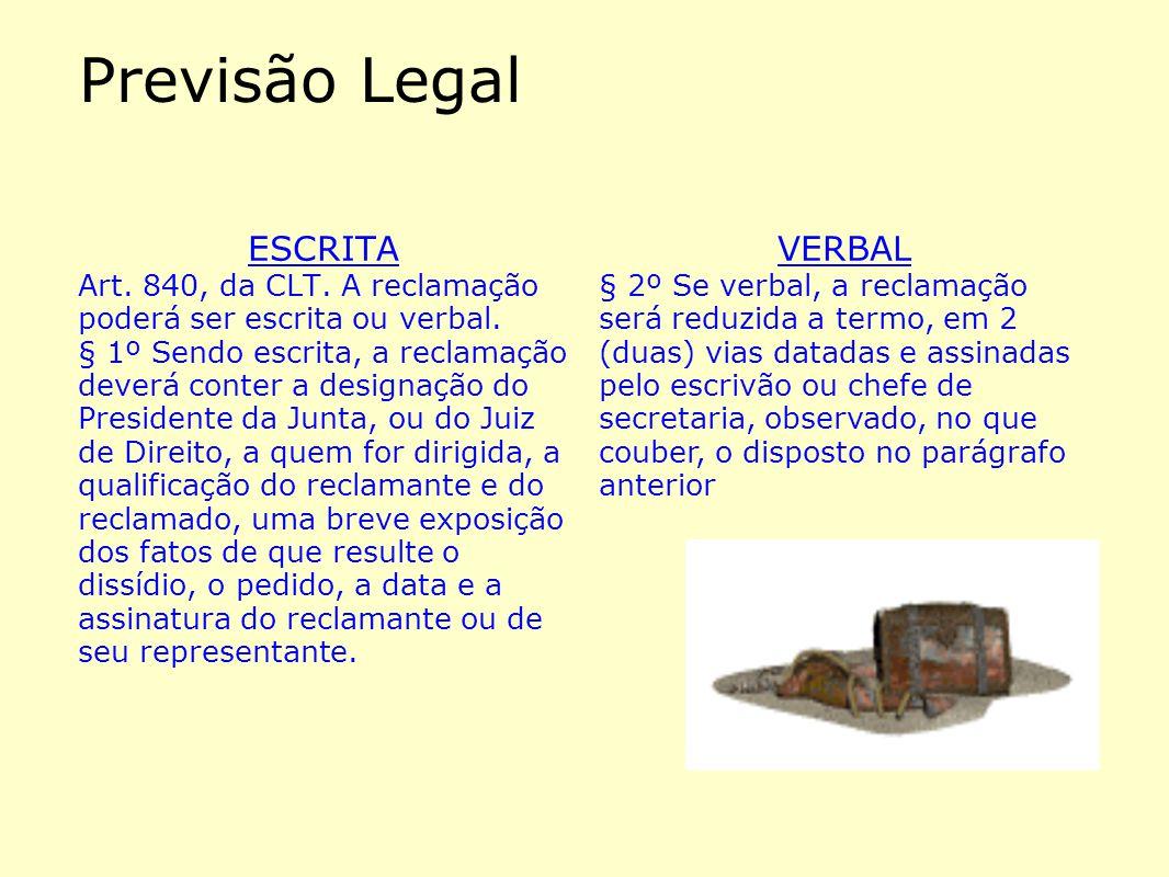Previsão Legal ESCRITA VERBAL