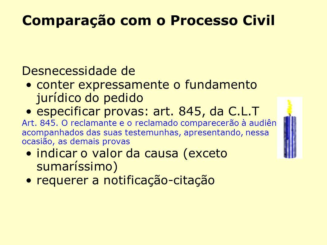 Comparação com o Processo Civil
