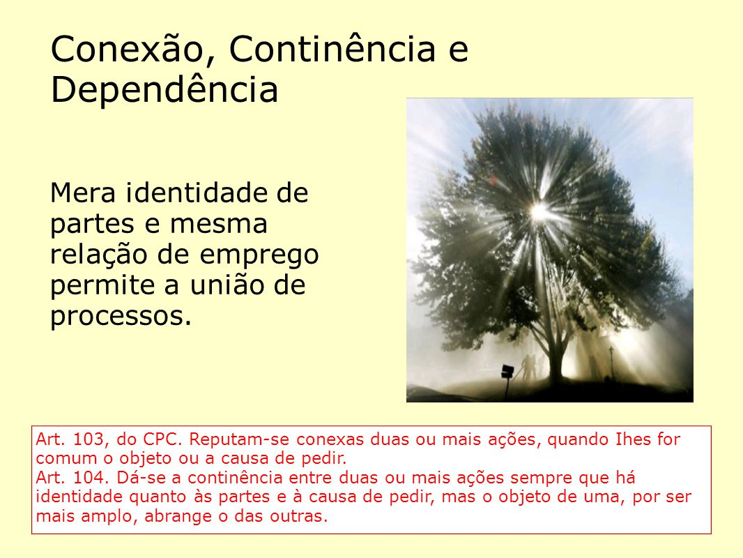 Conexão, Continência e Dependência