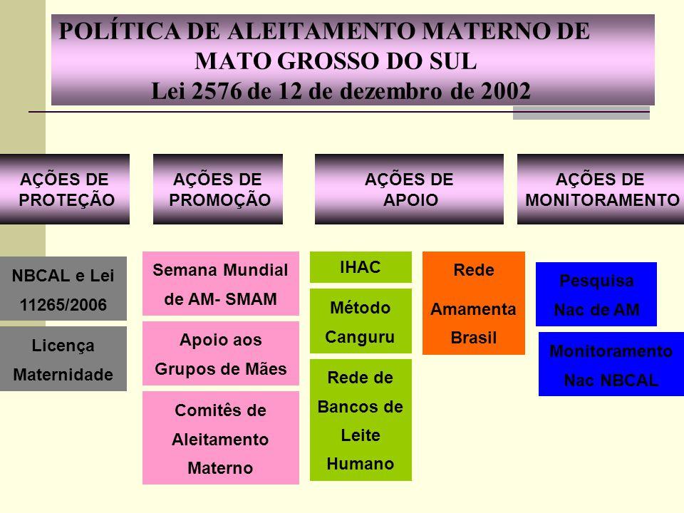 POLÍTICA DE ALEITAMENTO MATERNO DE MATO GROSSO DO SUL Lei 2576 de 12 de dezembro de 2002