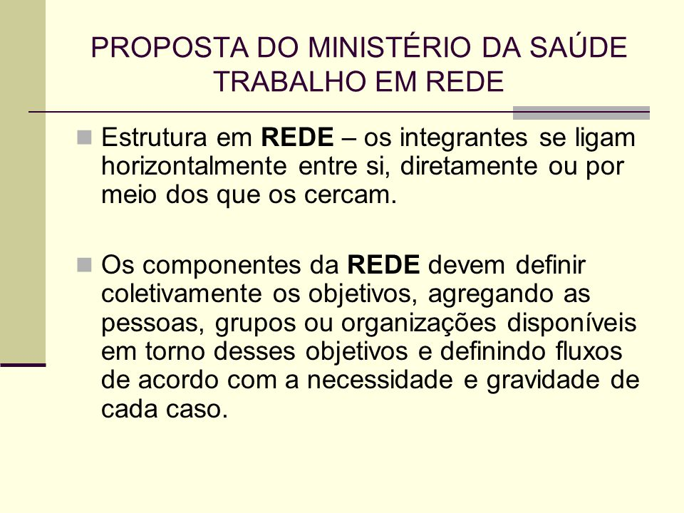 PROPOSTA DO MINISTÉRIO DA SAÚDE TRABALHO EM REDE