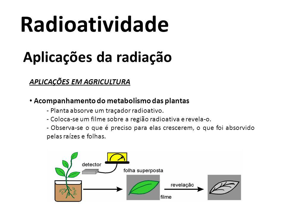 Radioatividade Aplicações da radiação APLICAÇÕES EM AGRICULTURA