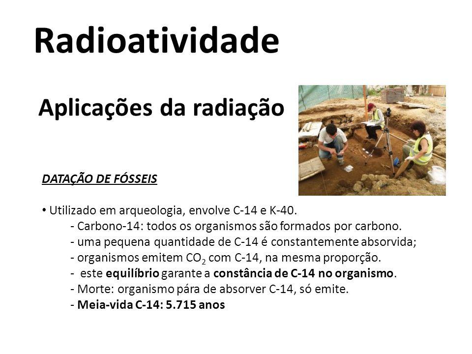 Radioatividade Aplicações da radiação DATAÇÃO DE FÓSSEIS