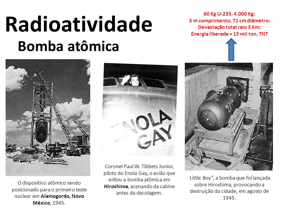 Radioatividade Bomba atômica 60 Kg U-235, 4.000 Kg;