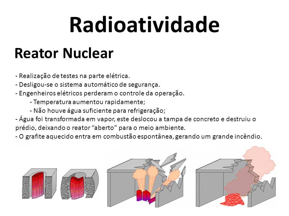 Radioatividade Reator Nuclear Realização de testes na parte elétrica.