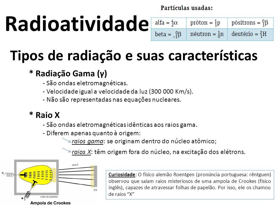 Radioatividade Tipos de radiação e suas características