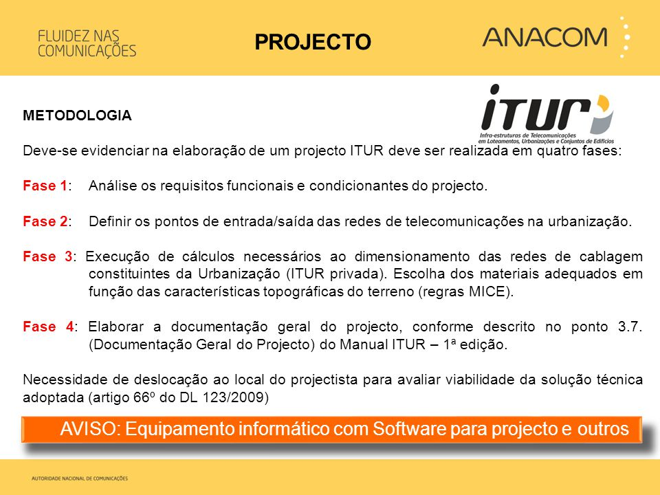 PROJECTO METODOLOGIA. Deve-se evidenciar na elaboração de um projecto ITUR deve ser realizada em quatro fases: