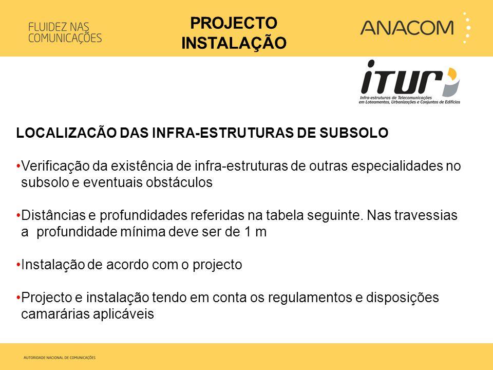 PROJECTO INSTALAÇÃO LOCALIZACÃO DAS INFRA-ESTRUTURAS DE SUBSOLO